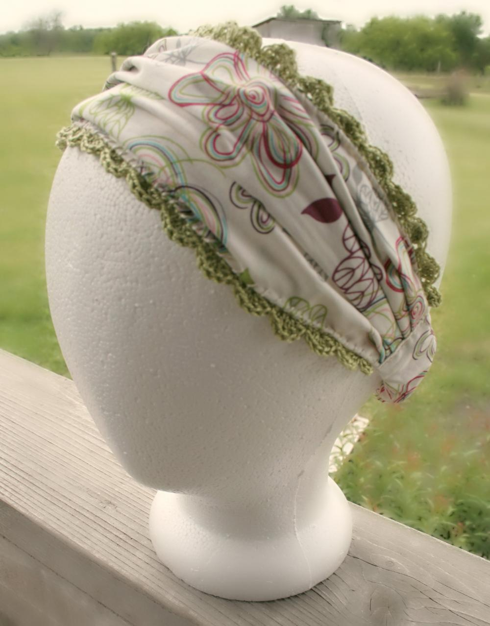 Wide Headband Floral Print Fabric with Crochet Lace Edging